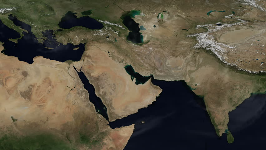 3D Flat Map Animation of The Middle East - Time-lapse: A Whole Year of Planet Earth's Natural Weather Cycle (4k UHD)