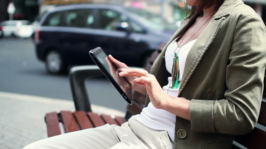 Woman hands with tablet computer in the city    Shutterstock HD Video #2138144