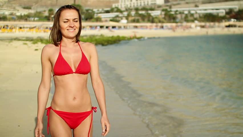 Bikini off model walk video