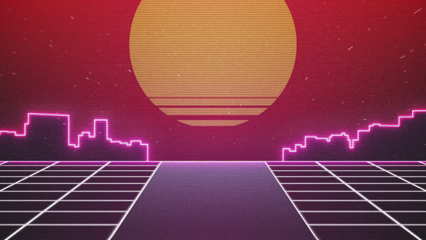 Retro Futuristic.Flight over the grid and sunset. 80s Retro Sci-fi. | Shutterstock Video #21398209