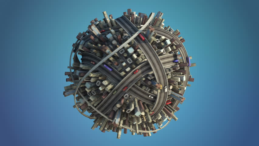 isolated loop of concept city planet spinning with traffic + alpha channel