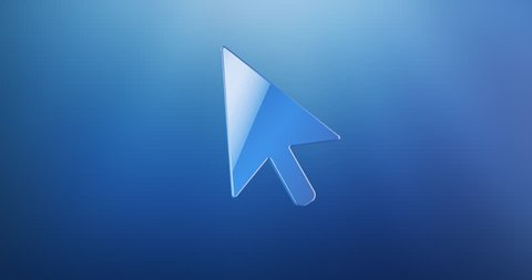 Animated cursor blue 3d icon loop modules for edit with alpha matte