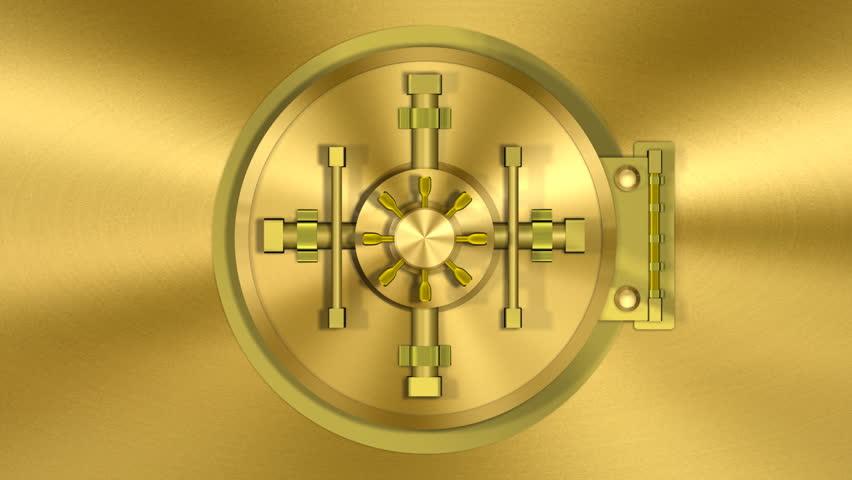 Bank Vault Door Gold Transition Stock Footage Video 100