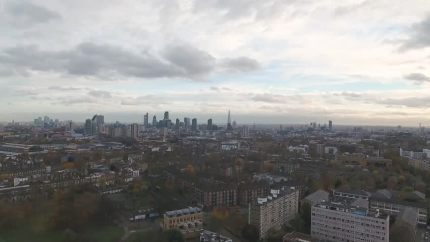 Aerial panning view of the skyline of central London | Shutterstock HD Video #21521647