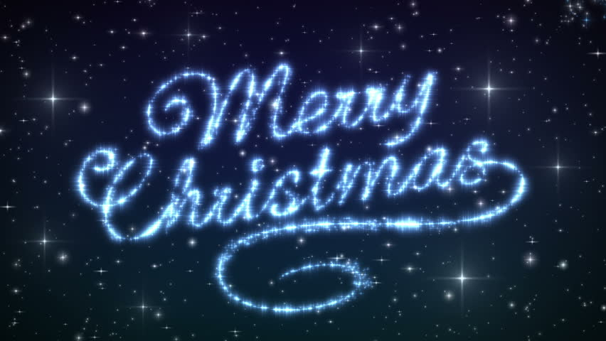 Merry Christmas Beautiful Text Appearance Animation in the Night Winter Sky. Text made of Stars. HD 1080. Loop-able.