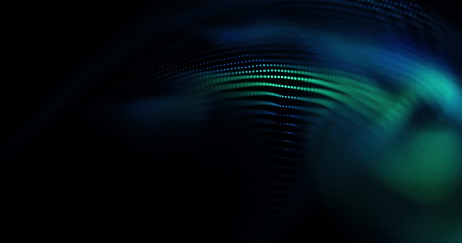 4K animated background loop with audio elements. 3D abstract digital wave of glowing particles and wireframe. Technology concept. Abstract background. Interplay of waves, lights, music, sound.  | Shutterstock HD Video #21529327