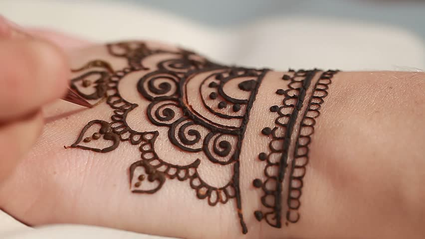 What Stores Sell Henna Tattoo Ink: Drawing Henna Patterns On Her Stock Footage Video (100