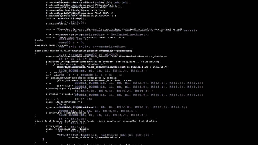 Showing a flow of mixed source code text (instructions for a computer program) on a PC screen. White characters, black background.  | Shutterstock HD Video #21563827