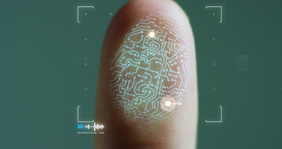 futuristic digital processing of biometric fingerprint scanner. concept of surveillance and security scanning of digital programs and fingerprint biometrics. cyber futuristic applications. | Shutterstock HD Video #21565882