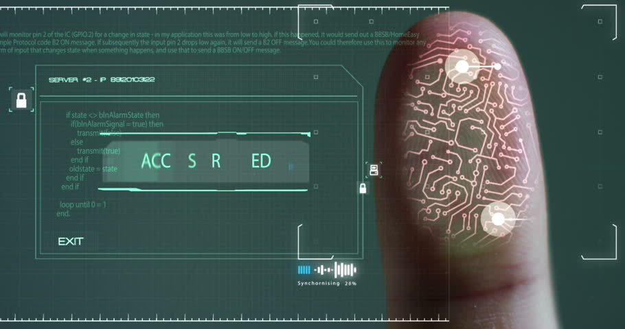 Scan fingerprint biometric identity and approval. concept of the future of security and password control through fingerprints in an advanced technological future and cybernetic | Shutterstock HD Video #21570073