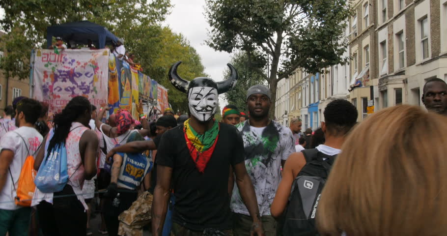 LONDON, UNITED KINGDOM - AUGUST 30, 2016 - Guy Fawkes anonymous mask at Notting Hill carnival