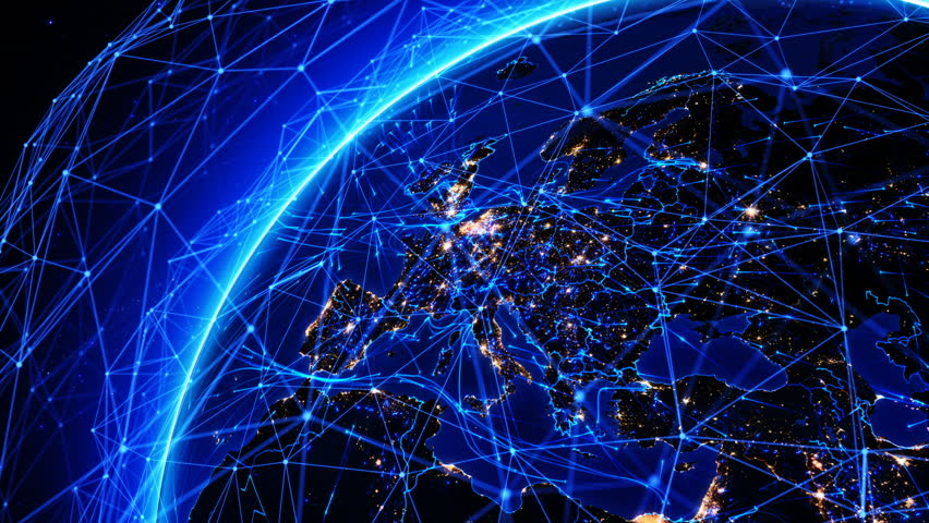 Bright connections forming a network over Europe. This video can be used to represent concepts like technology, social networks, communication, air and sea transportation.