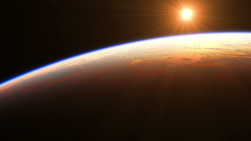 Sunrise Over The Earth. Amazing View Of Planet Earth From Space. Realistic 3d Animation. Ultra High Definition. 4K. 3840x2160.