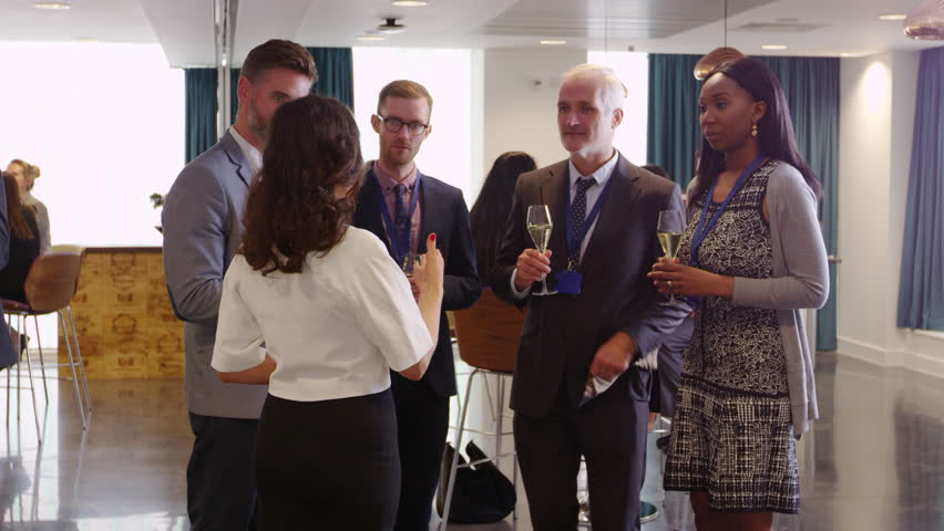 Delegates Network At Conference Drinks Reception Shot On R3D | Shutterstock HD Video #21628507