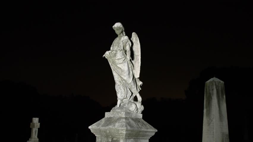 Angel Statue Night cemetery graveyard broken headstone graves