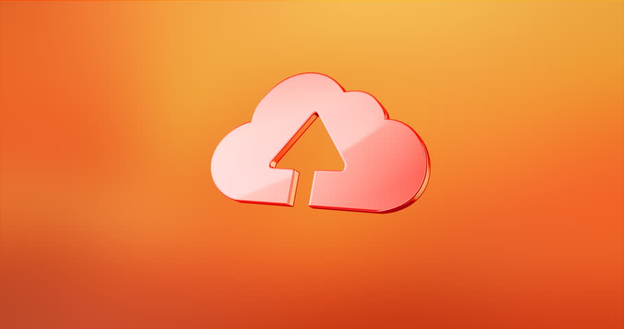 Animated Cloud Upload Gold 3d Icon Loop Modules For Edit