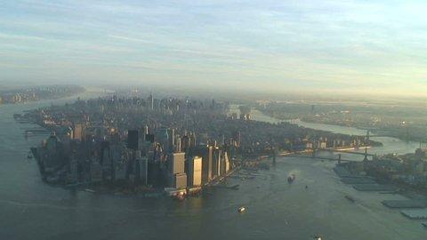 Aerial view approaching lower Manhattan