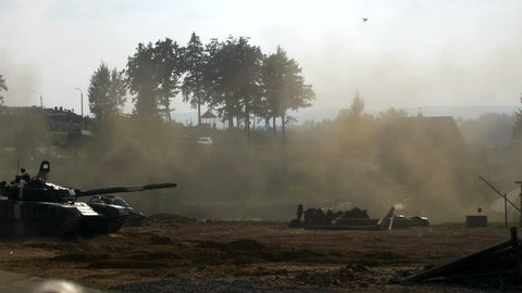 Shooting russian tank, T 72 attack, Tank rides, dust, smoke, military action