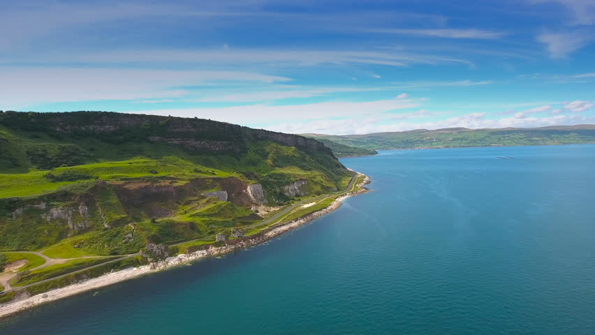 Beautiful landscape of the Cushendun village in Northern Ireland. Cushendun stands on an elevated beach at the outflow of the Glendun and Glencorp valleys.