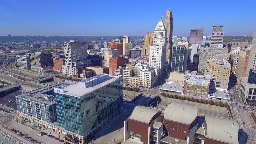 CINCINNATI - NOVEMBER 7: Aerial video of Downtown Cincinnati Ohio which is a city settled in 1788 on the north side of the Ohio River November 7, 2016 in Cincinnati Ohio, USA