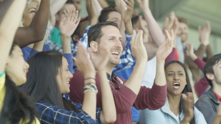 4K Excited sports fans at live game chanting and cheering for their team (UK-Oct 2016) | Shutterstock HD Video #21740527