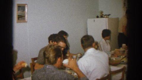 ZURICH SWITZERLAND 1963: family dinner
