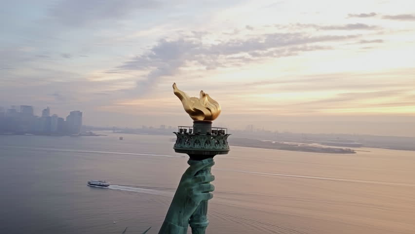Aerial View of Torch Statue of Liberty 4K | Shutterstock HD Video #21750748