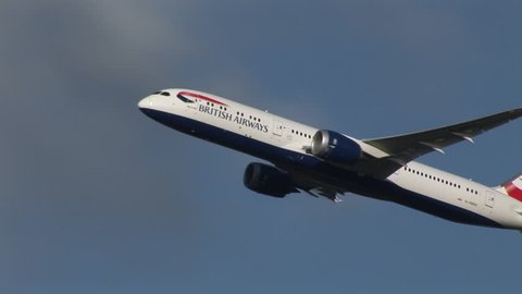 LONDON HEATHROW AIRPORT, ENGLAND - NOVEMBER 13, 2016: A British Airways Boeing 787 Dreamliner aircraft climbing away from London Heathrow airport after take off.
