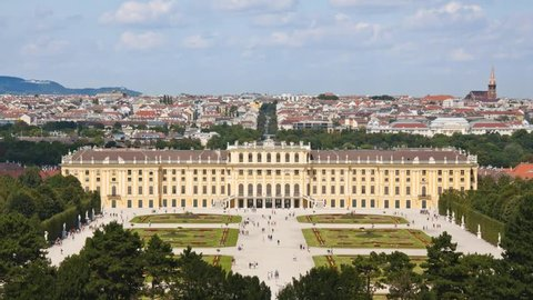 Schonbrunn Palace, Austria Timelapse as seen from Schonbrunn Hill