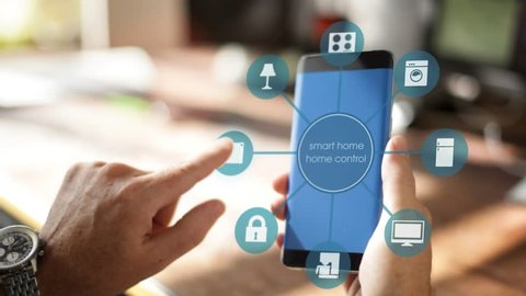 Smart Home Device - House automation home Control concept on a smartphone with smarthome app