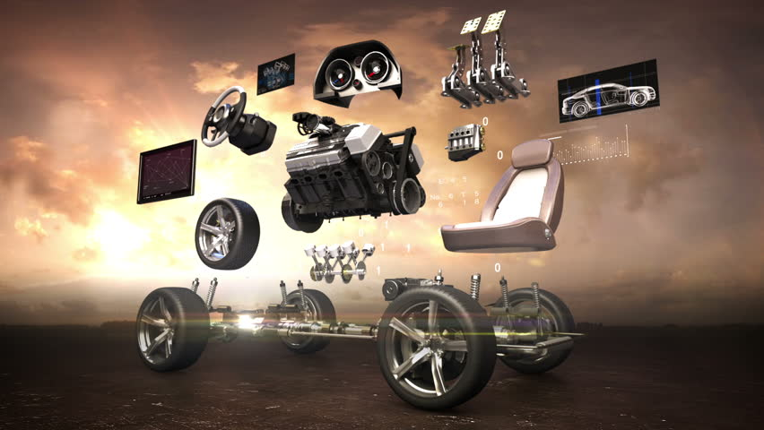 Disassembled car, engine, safety seat, Instrument panel, navigation, Accelerator pedal, car audio video system, tires, eco-friendly future car. sunset.