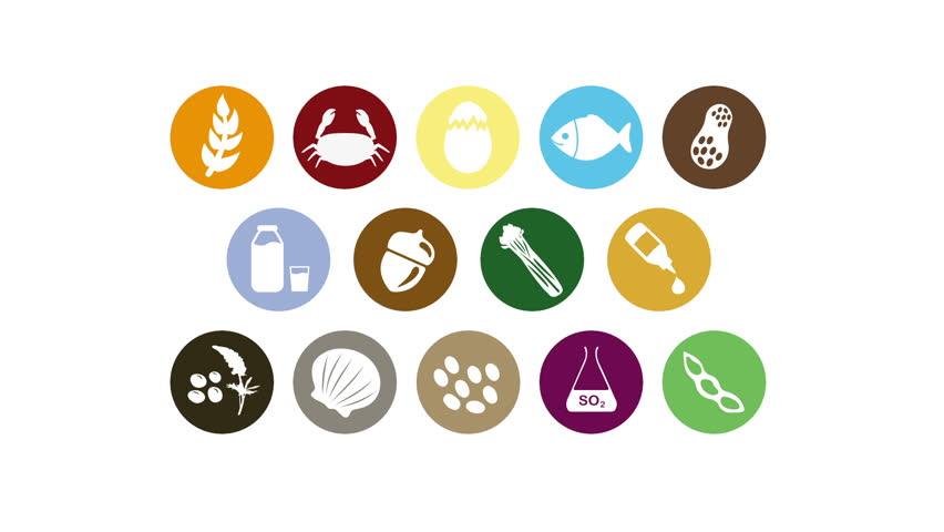 Food allergens icons motion graphics animation