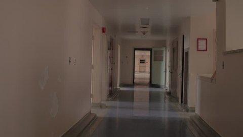 Walk through abandoned hospital hallway