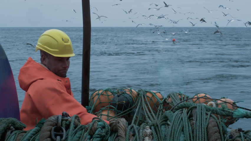 Crew of Fishermen Work on Commercial Fishing Ship that Pulls Trawl Net. Shot on RED Cinema Camera in 4K (UHD).