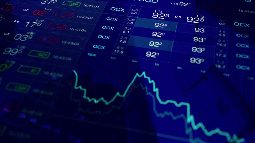 Financial markets, stock market trading floor concept background: trading board with abstract quotes tickers and stock chart at background of financial building. Abstract blue financial background. | Shutterstock HD Video #21842455