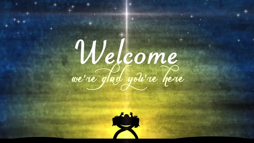 hd0030christmas and winter holidays welcome title background featuring a large star shining over the crib where baby jesus is sleeping - Religious Christmas Photos
