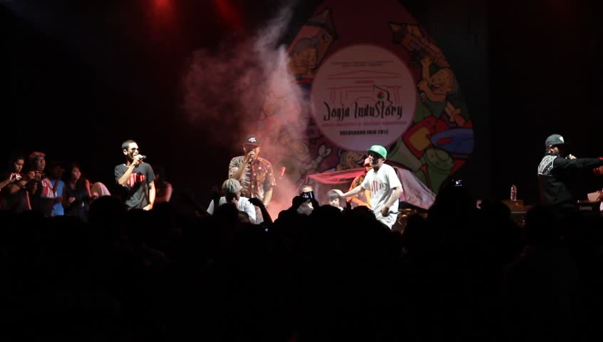 YOGYAKARTA, INDONESIA - CIRCA APRIL 2012: Jogja Hip Hop Foundation perform Java Hip Hop at closing event circa April 2012 in Yogyakarta, Indonesia.