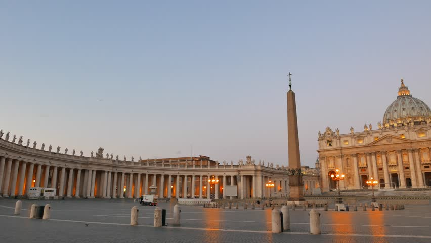 Piazza San Pietro, before sunrise Vatican, Rome, Italy.