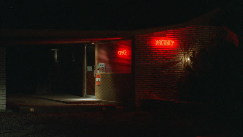 """night Tight office isolated desert 1 story motel highway Flashing red neon """"Vacancy"""" sign (Sep 1992)"""