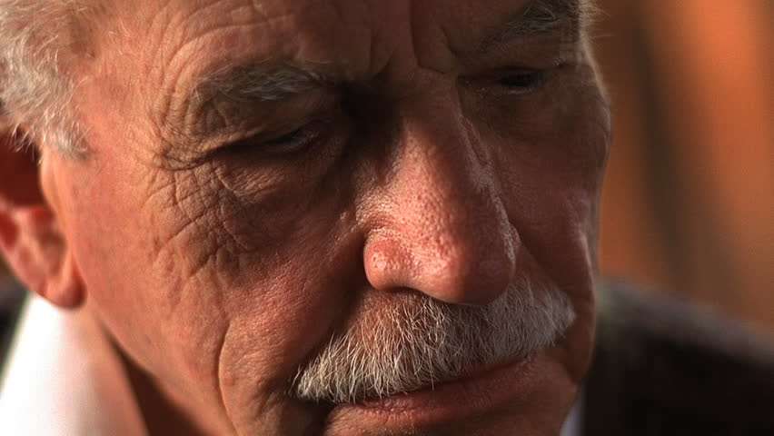 Extreme closeup of elderly man