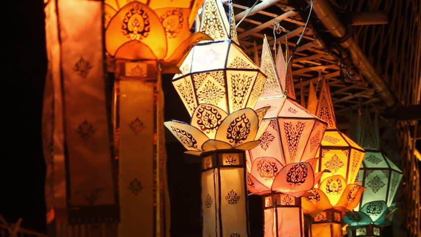 Lanna lanterns at night, Thai lantern festival.