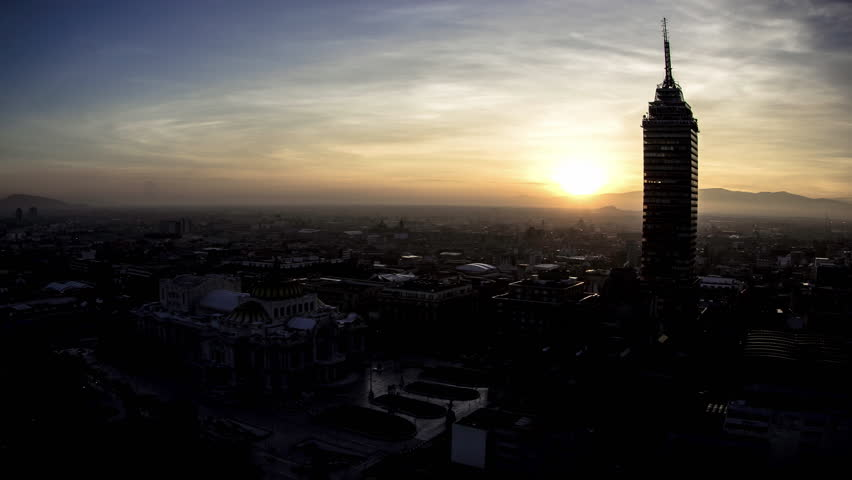 Sunrise at Bellas Artes Palace & Torre Latinoamericana, Mexico City. 4K | Shutterstock HD Video #21943996