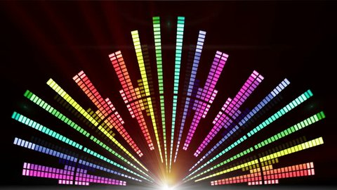 Sound graphic Equalizer Flashing Lights Spotlight Bulb Flood lights neon Equalizer Display Abstract background animation Equalizer abstract futuristic Blinking Lights Motion Graphics Background loop