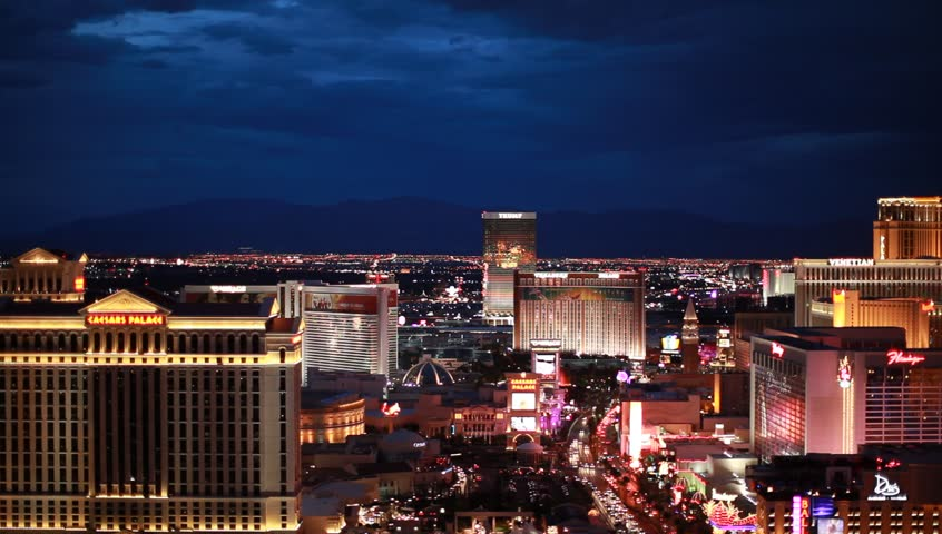 Magic Hour night Las Vegas window plates POV static plate 50 60 stories up looking across over Las Vegas hotels Las Vegas Strip, cloudy, individual hotel attractions | Shutterstock HD Video #21997597