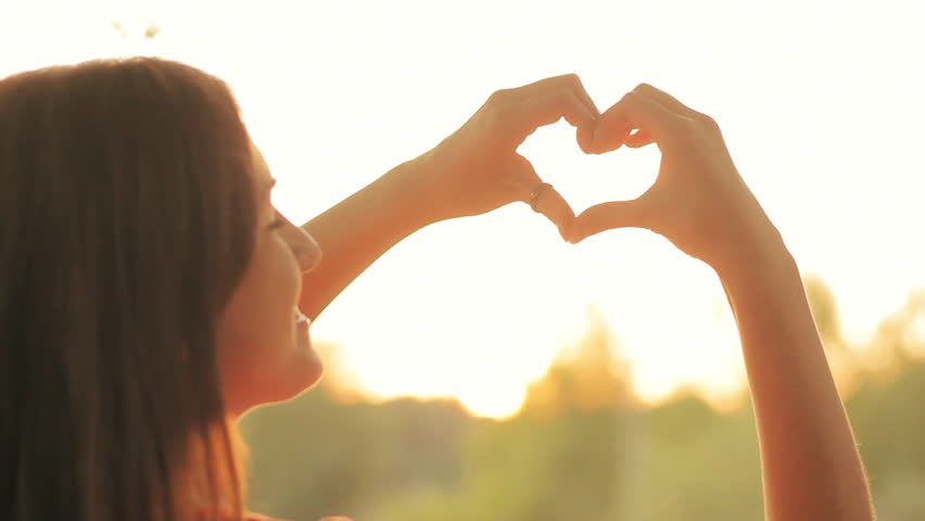 Happy Teen Girl Make Heart Shape Sign With Hands Royalty Free Video