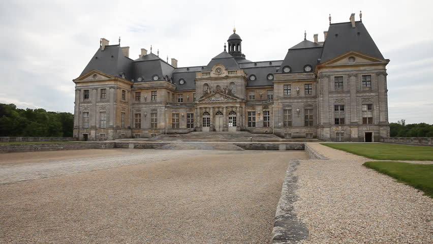 Day Static hold wide chateau museum outside Paris called Vaux le Vicomte which was inspiration Palace Versailles, no activity (Jun 2013) | Shutterstock HD Video #22026487