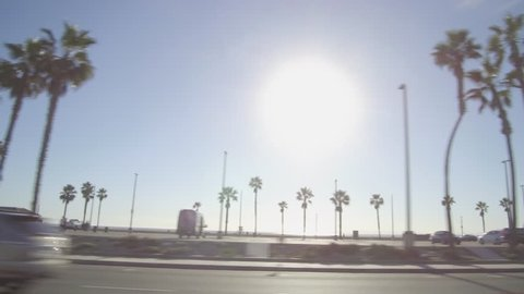 Driving along PCH in Huntington Beach, California on Pacific Coast Highway
