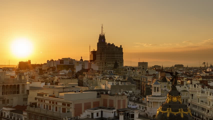 MADRID - SEPTEMBER, 2016. Sunset of the skyline of Madrid. Time lapse shot from a roof in Alcala street of Madrid, Spain. | Shutterstock HD Video #22057507