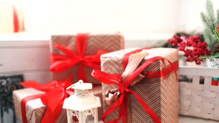 Cristmas red gift box on lights background | Shutterstock HD Video #22101007