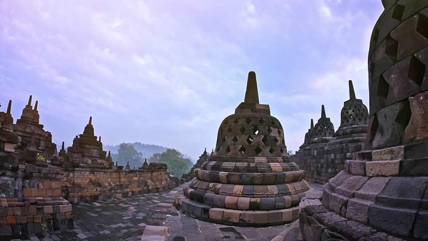 Famous Ancient Architecture famous buddhist landmark in java indonesia - borobudur temple
